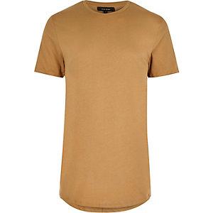 Langes T-Shirt in Camel