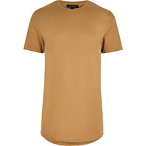 Camel longline T-shirt