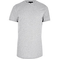 T-shirt long gris chiné