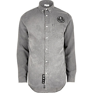 Grey wash casual badge denim shirt