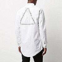Chemise blanche Oxford à logo coupe longue casual