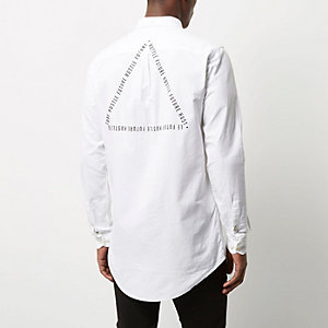 White casual logo longline Oxford shirt