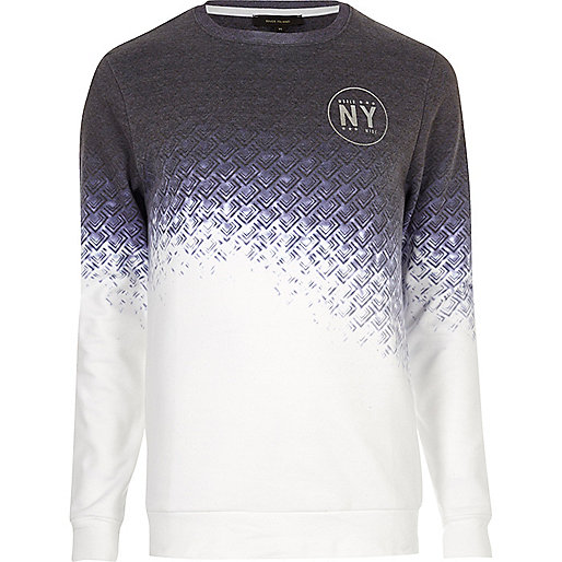 White and navy faded geo print sweatshirt