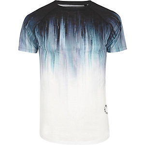 White and blue faded print T-shirt