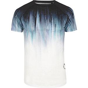 T-shirt imprimé délavé blanc coupe ajustée