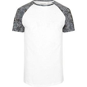White textured camo raglan T-shirt