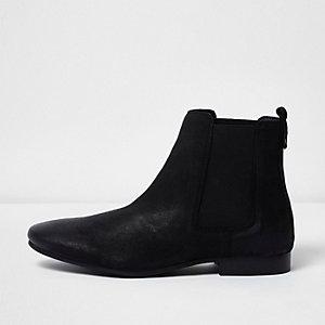 Schwarze Chelsea-Stiefel aus Nubukleder