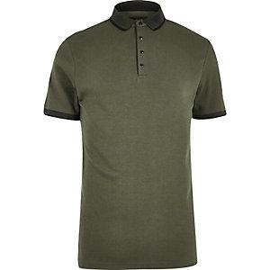 Khaki green popper polo shirt