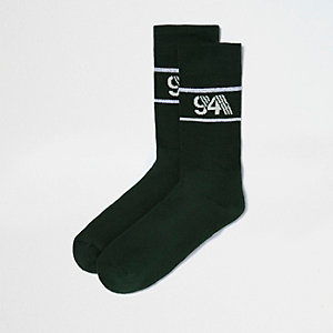 Green print tube socks