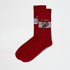 Red tiger print tube socks
