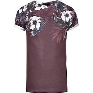 Dark red floral shoulder print T-shirt