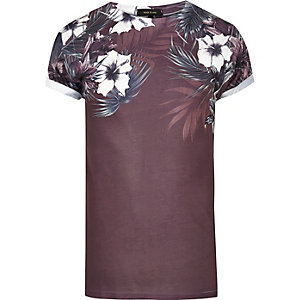 Dark red floral shoulder print T-shirt
