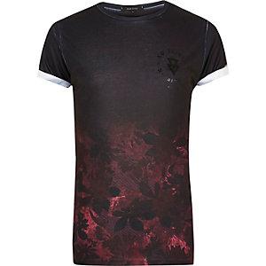 Black faded floral print T-shirt