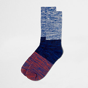 Blue block dyed yarn socks