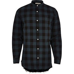 Green casual check raw hem shirt