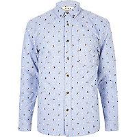 Light blue HYMN Christmas print shirt