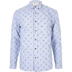 Light blue Christmas print shirt
