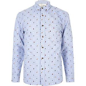 Light blue Christmas print shirt
