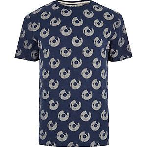 Blue print crew neck T-shirt