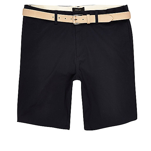 Navy chino shorts with ecru belt