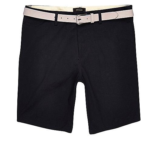 Navy chino shorts with stone belt