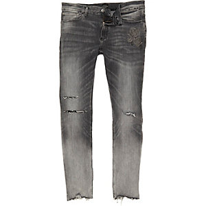 Faded grey ripped Sid skinny jeans