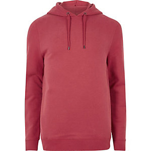 Red washed casual hoodie