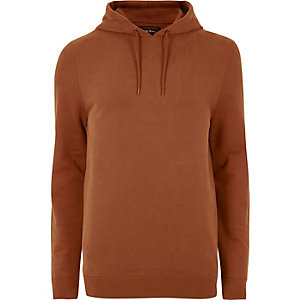 Sweat à capuche casual orange rouille
