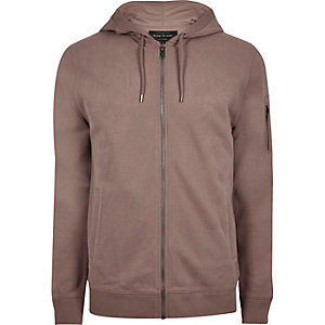 Pink casual zip front hoodie