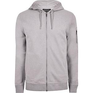 Ice grey casual zip front hoodie