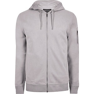 Sweat gris clair casual zippé à capuche