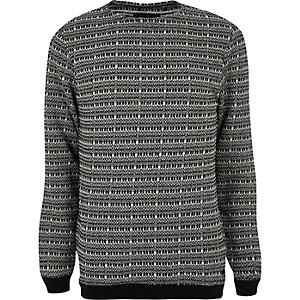 Grey Only & Sons contrast stitch jumper