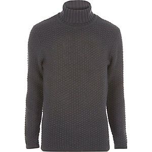 Grey knit Only & Sons roll neck jumper