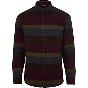 Burgundy stripe Only & Sons casual shirt