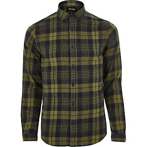 Dark yellow Only & Sons casual check shirt