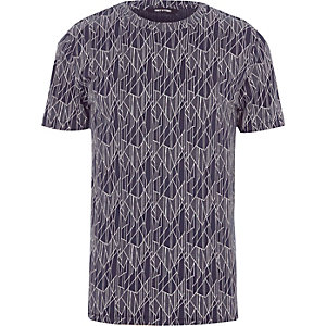 Only & Sons – Blaues, bedrucktes T-Shirt