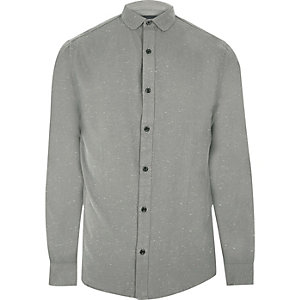 Grey Only & Sons smart flecked shirt
