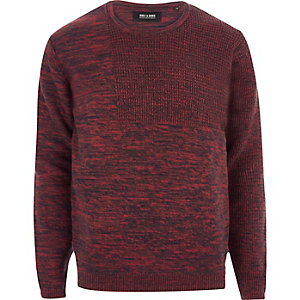 Red Only & Sons mixed tone knit jumper
