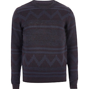 Navy Only & Sons print jumper