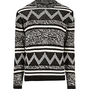 Black Only & Sons contrast knit jumper