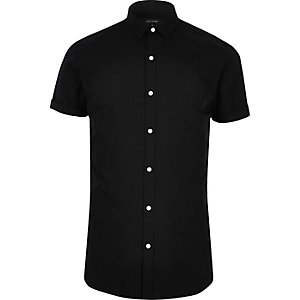 Black short sleeve smart slim fit shirt