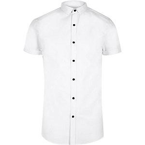 Chemise habillée blanche coupe slim à manches courtes