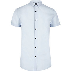 Light blue smart short sleeve slim fit shirt