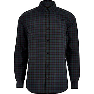 Green casual check slim fit shirt