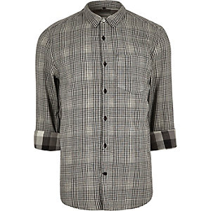 Black double faced casual check shirt