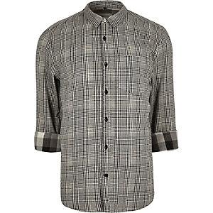 Black double faced casual check shirt