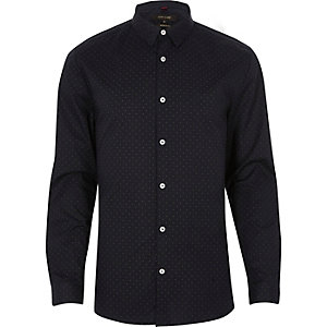 Navy dot muscle fit smart shirt