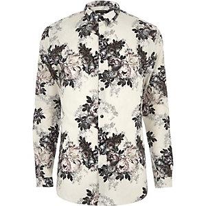 Chemise habillée imprimée grège coupe près du corps