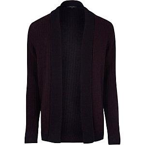 Dark purple ribbed open cardigan