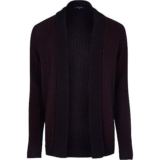 Dark purple ribbed open cardigan